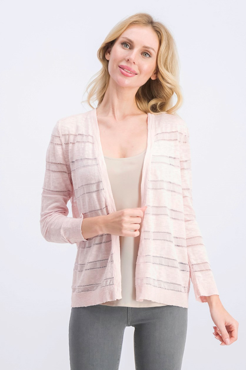 Women's Petite Pointelle-Stripe Cardigan, Misty Pink