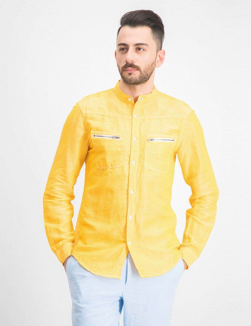 Men's Band-Collar Shirt, Sparkling Sun
