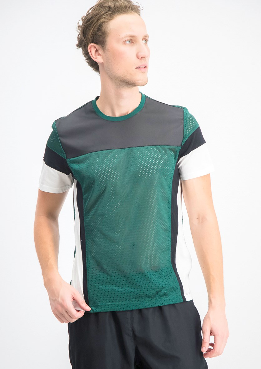 Men's Pieced Colorblocked Mesh T-Shirt, Rain Forest