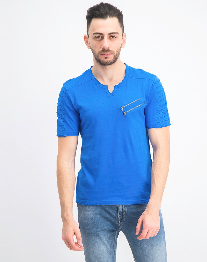 Men's Zippered T-Shirt, Vibrant Blue