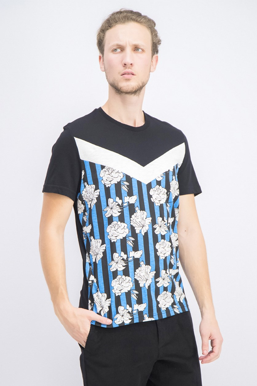Men's Colorblocked Floral Graphic T-Shirt, Deep Black