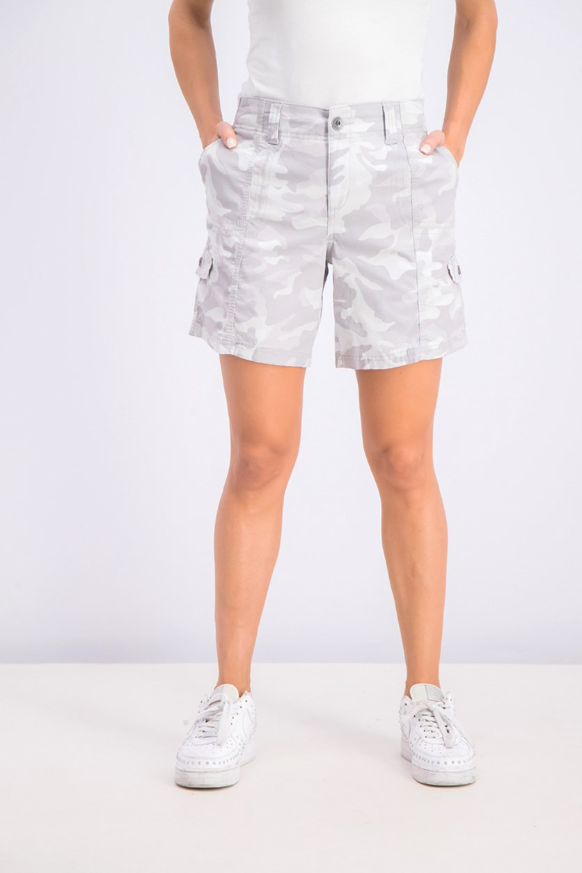 Women's Camo Cargo Shorts, Boardwalk Camo Grey