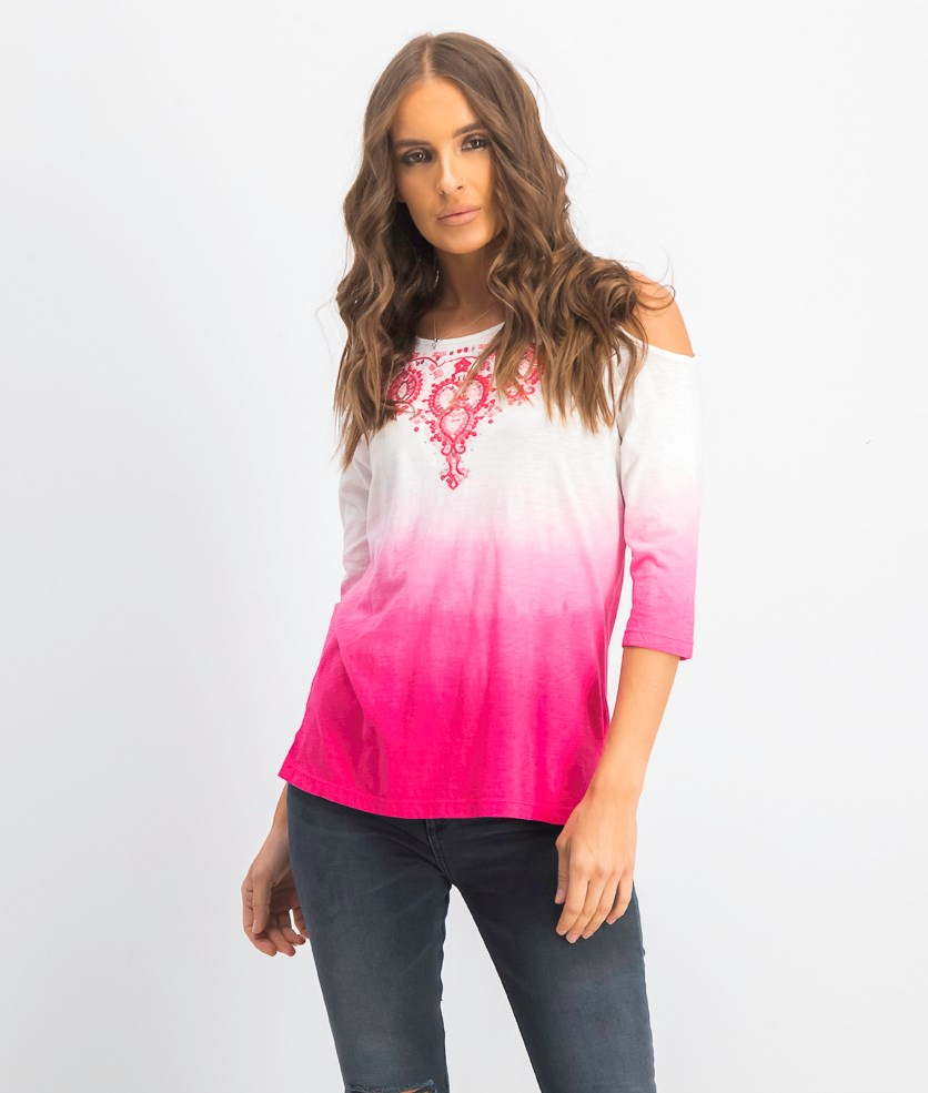 Petite Cotton Embroidered Ombre Cold-Shoulder Top, Pink Twist