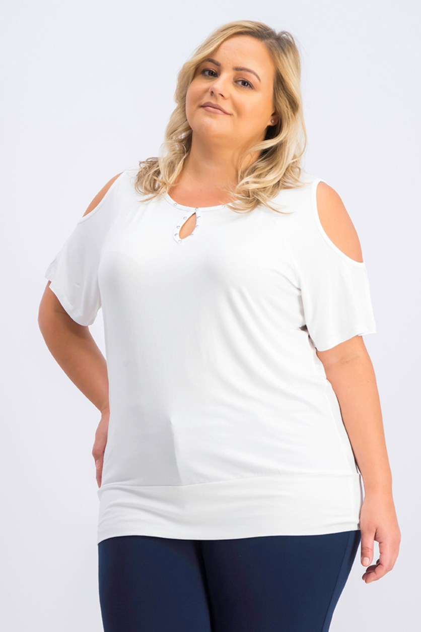 Plus Size Studded Cold-Shoulder Top, Bright White