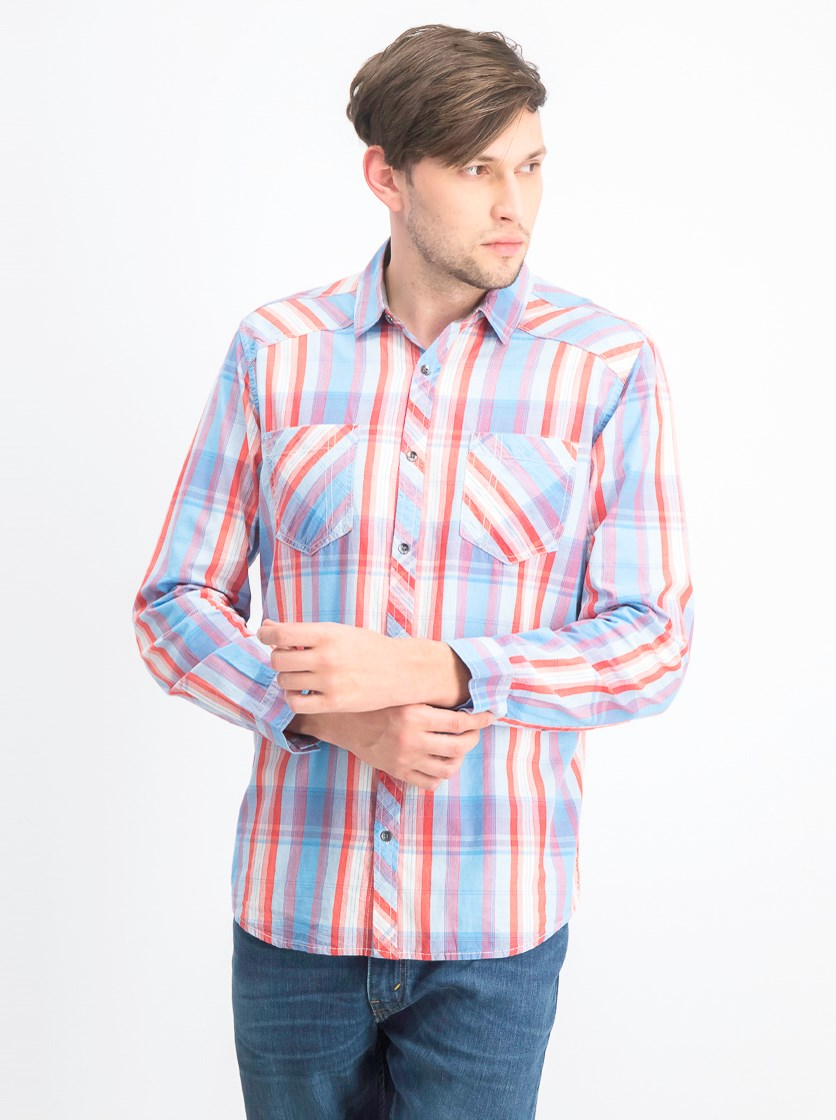 Men's Aaron Plaid Shirt, Blue Combo
