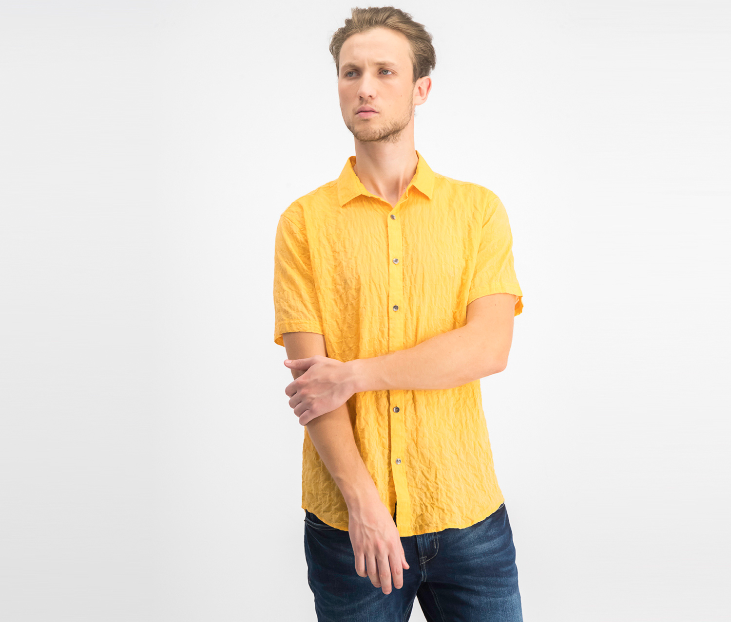 Men's Crinkle Short Sleeve Shirt, Sparkling Sun