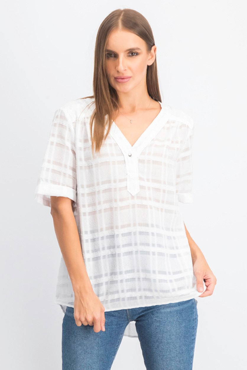 Women's Plaid Top, White
