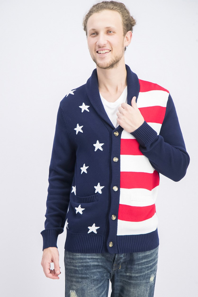 Men's American Flag Cardigan, Navy Blue