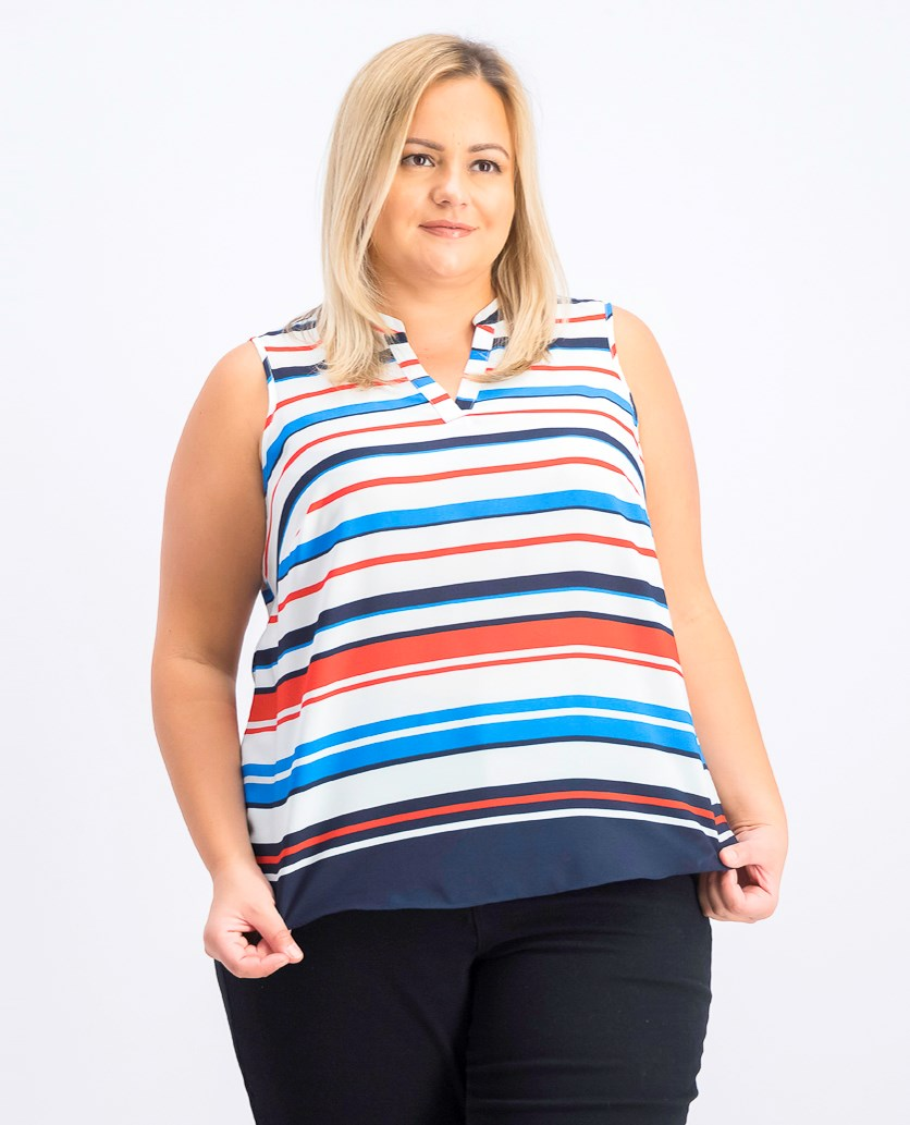 Women's Plus Size Striped Top, Bright White Combo