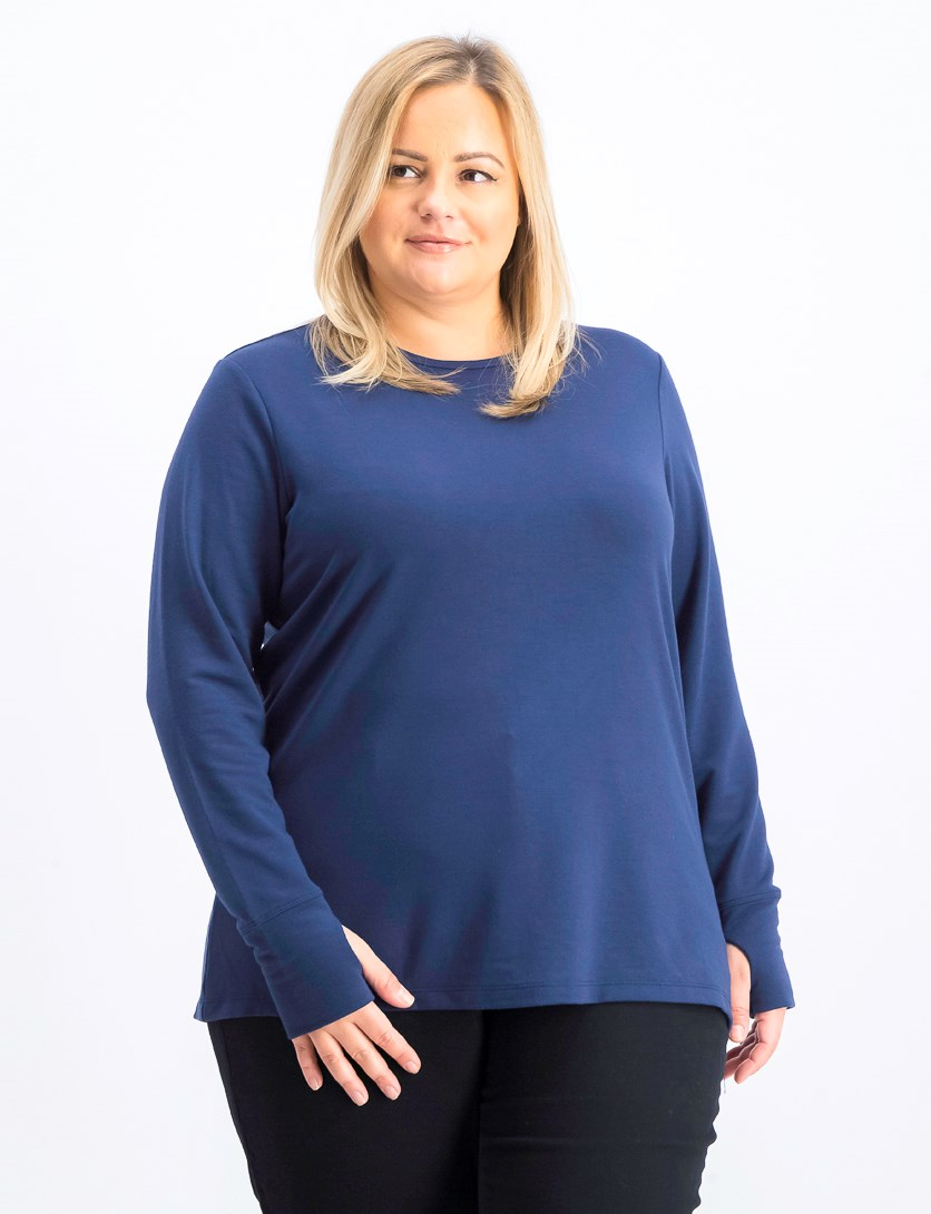 Womens Plus Crochet Back Long Sleeve Tops, Indigo Sea