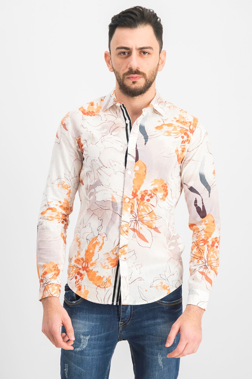 Men's Watercolor Floral Print Shirt, White Combo