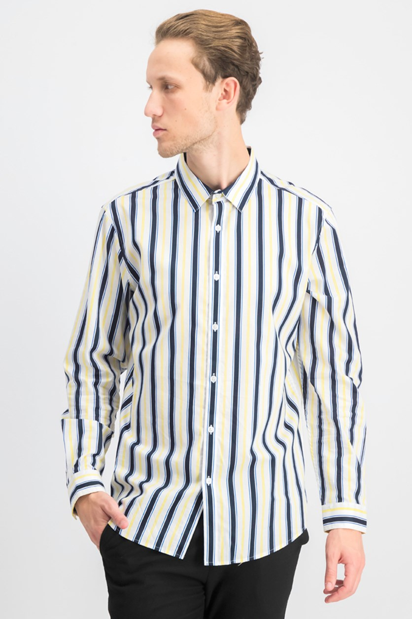 Men's Elliot Striped Button-Down Shirt, White Combo