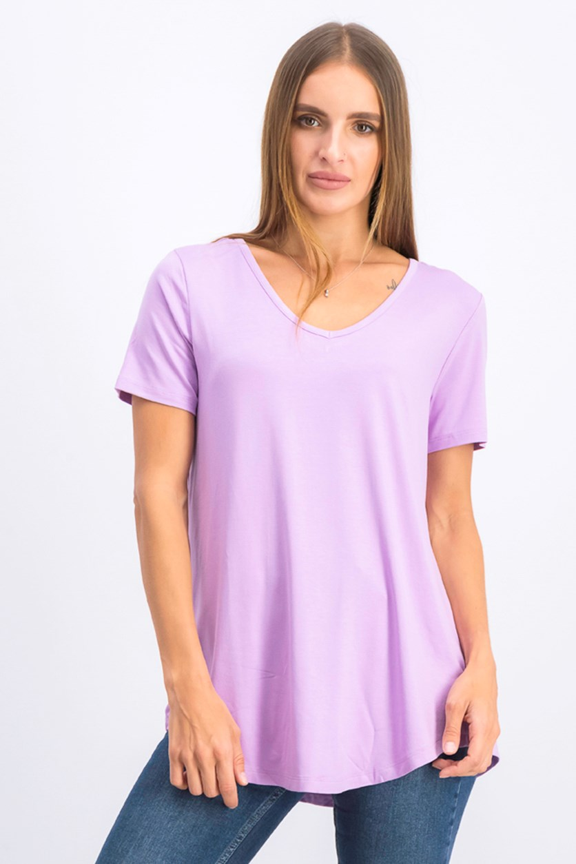 Women's Lattice-Back V-Neck Top, Purple Hyacinth