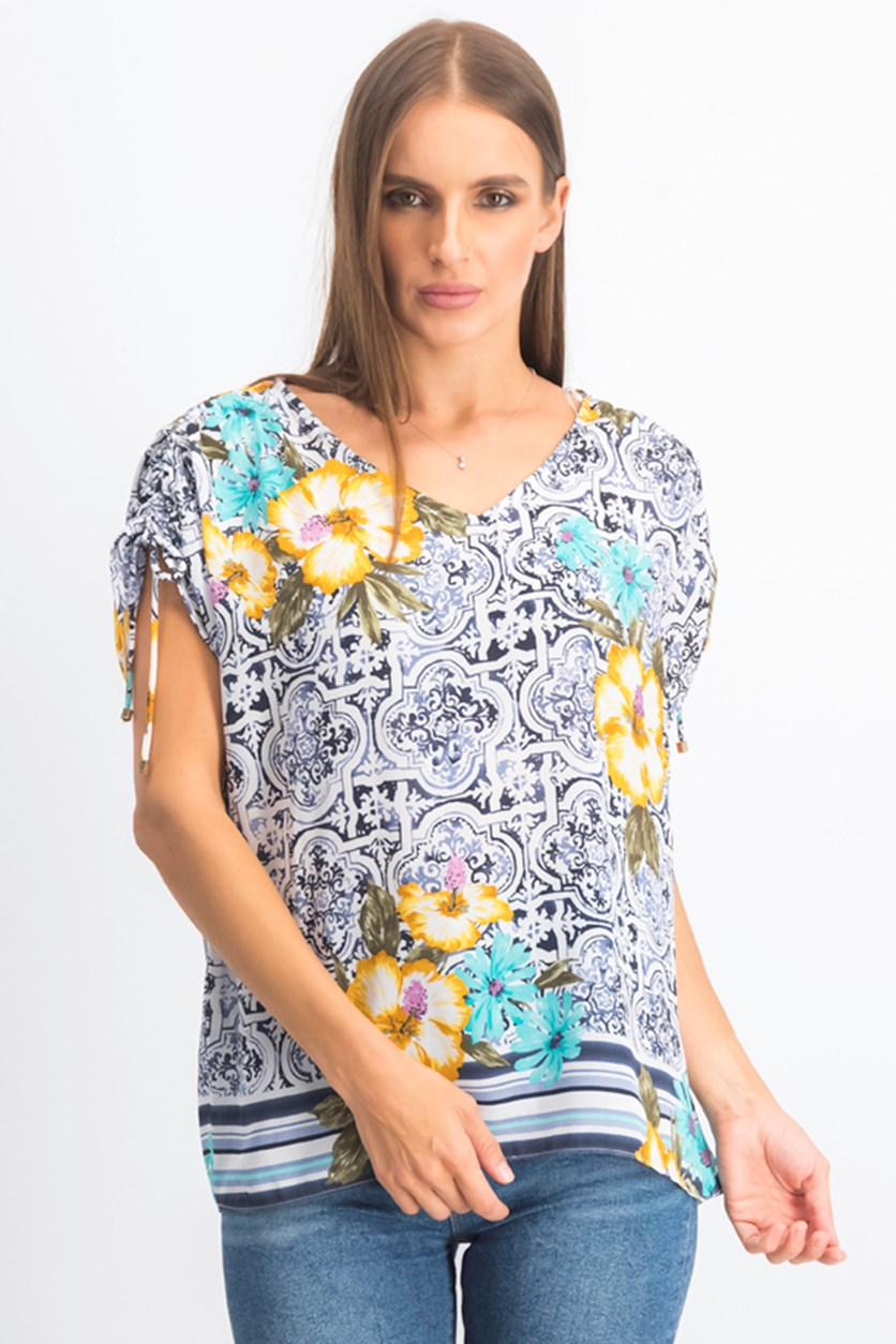 Women's Printed Ruched-Sleeve Top, White Combo