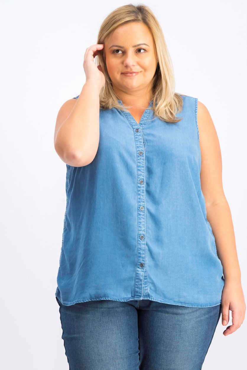 Womens Plus Size Side-Seam Sleeveless Shirt, Sun Wash