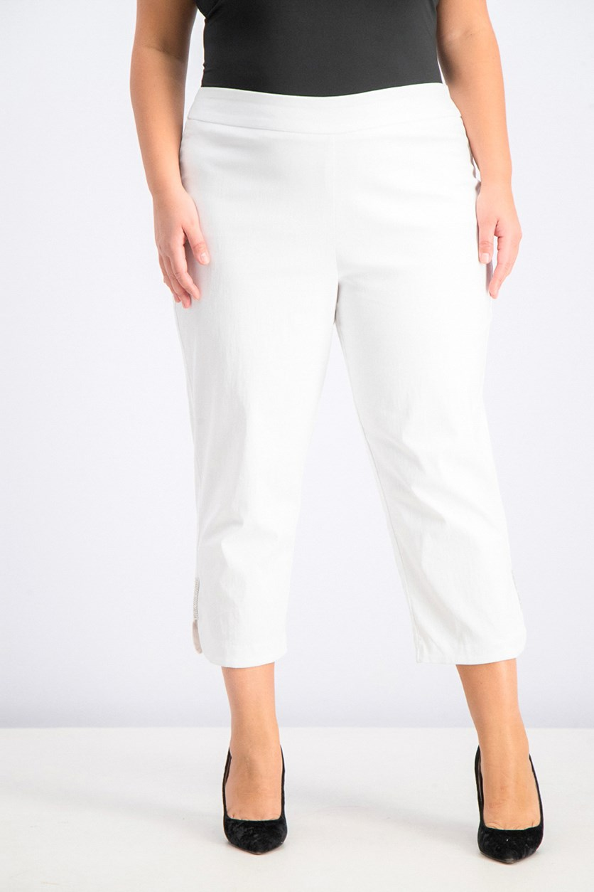Women's Metallic-Detail Capri Pants, Bright White