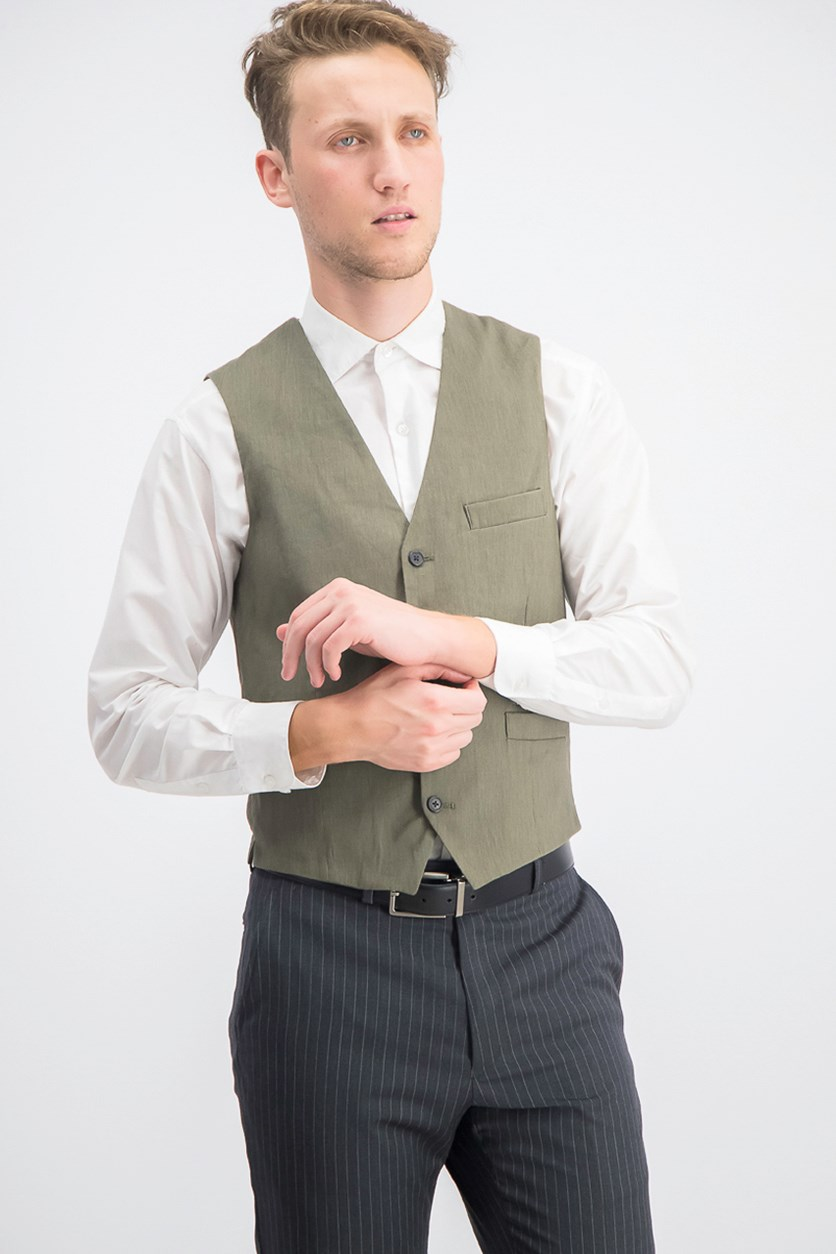 Men's Stretch Slim Linen Vest, Tank