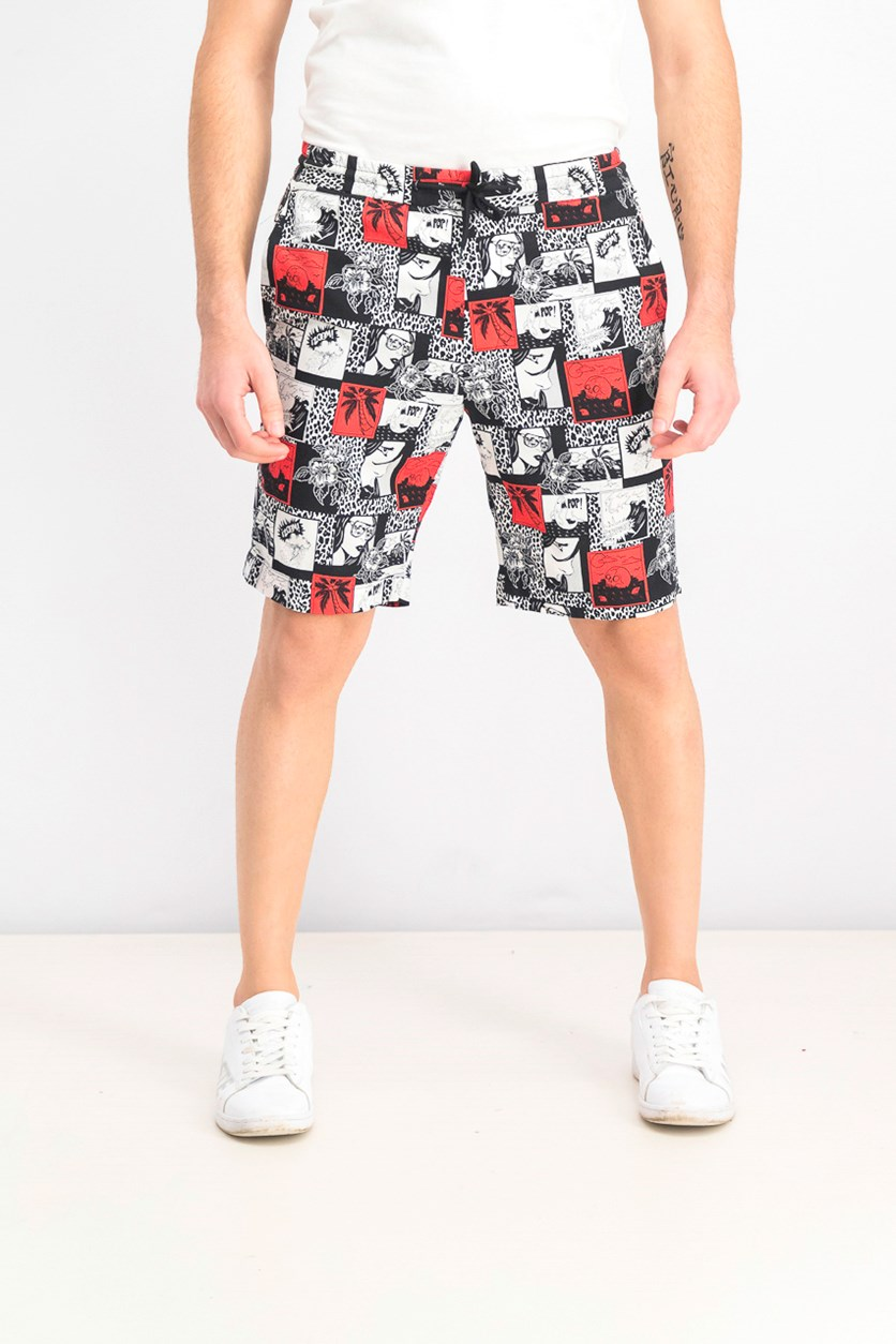 Men's Comics Printed Shorts, White/Black/Red