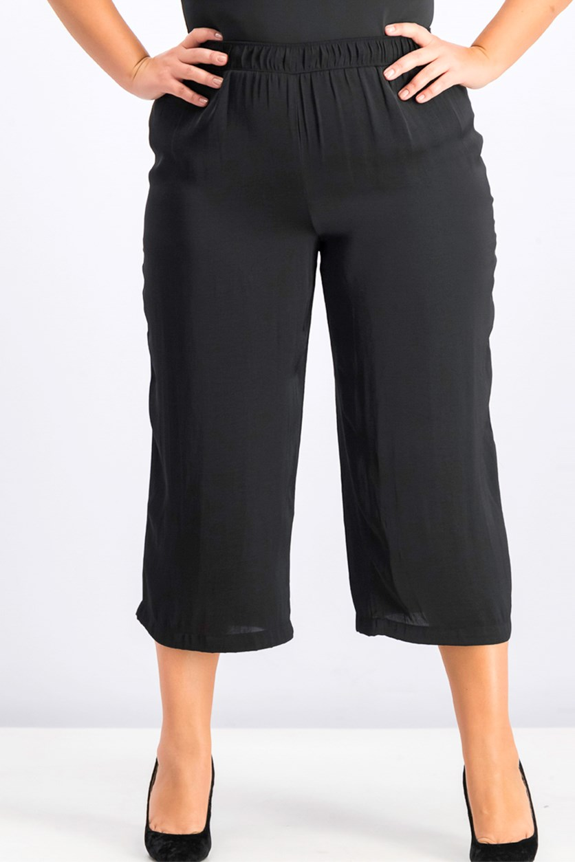 Women's Plus Size Culottes, Deep Black
