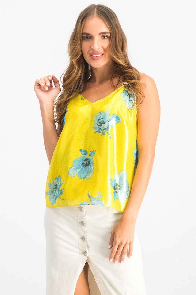 Women's  Sleeveless Printed Shine Top, Yellow