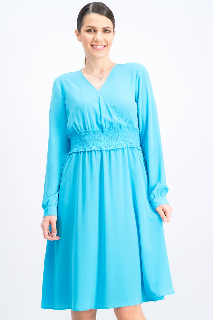 Women's  Smocked-Waist Dress, Blue Horizon