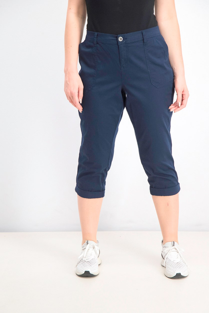 Women's Petite Utility Pocket Capri Pants, Intrepid Blue