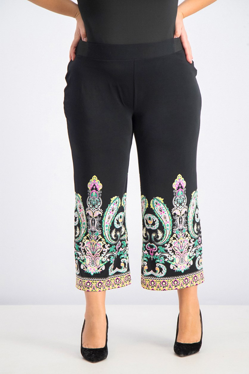 Women's Plus Size Printed-Hem Cropped Pants, Black