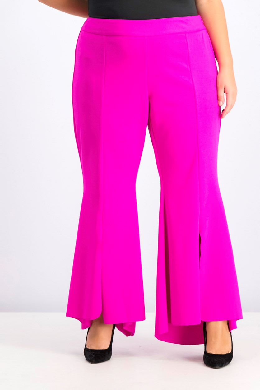 Womens Plus Size Flared High-Low Hem Pants, Magenta Flame