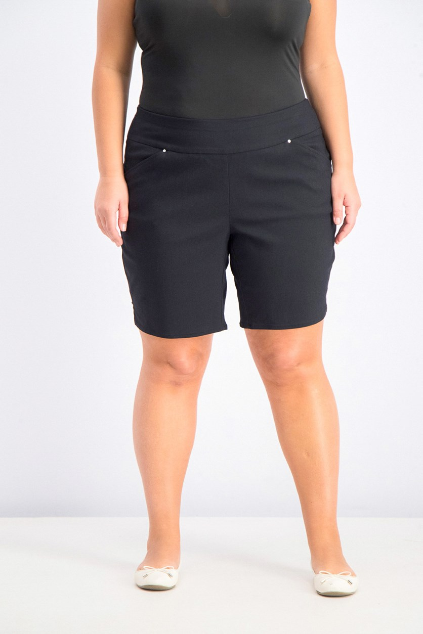 Women's Plus Size Stretch Bermuda Shorts, Black