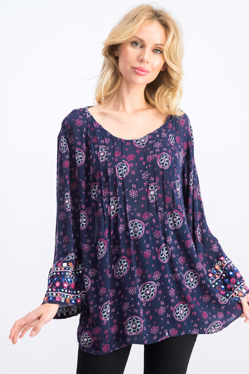 Women's Printed Pin-tucked Bell-Sleeve Top, Navy Combo