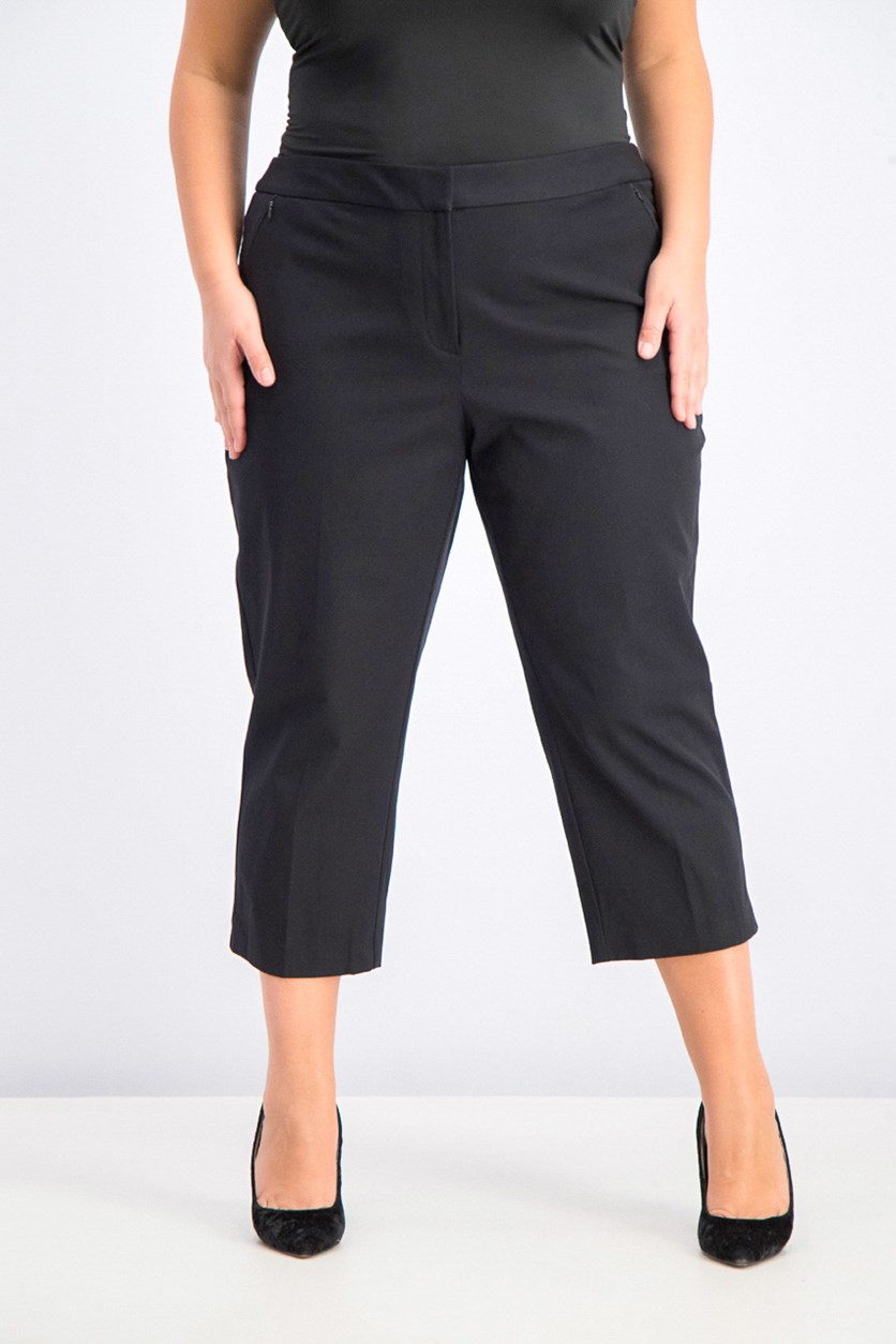 Women's Plus Size Capri Pants, Black