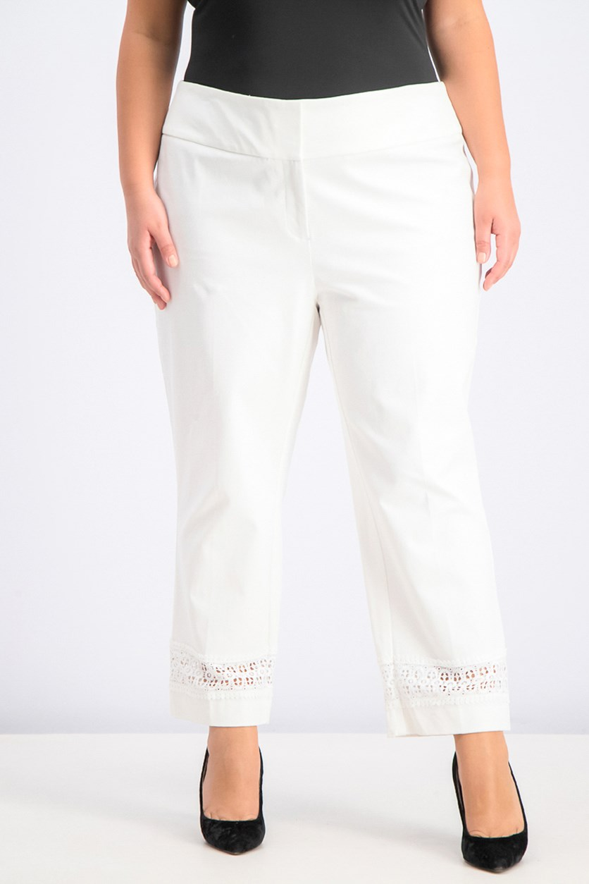 Womens Plus Size Lace-Inset Capri Pants, Bright White