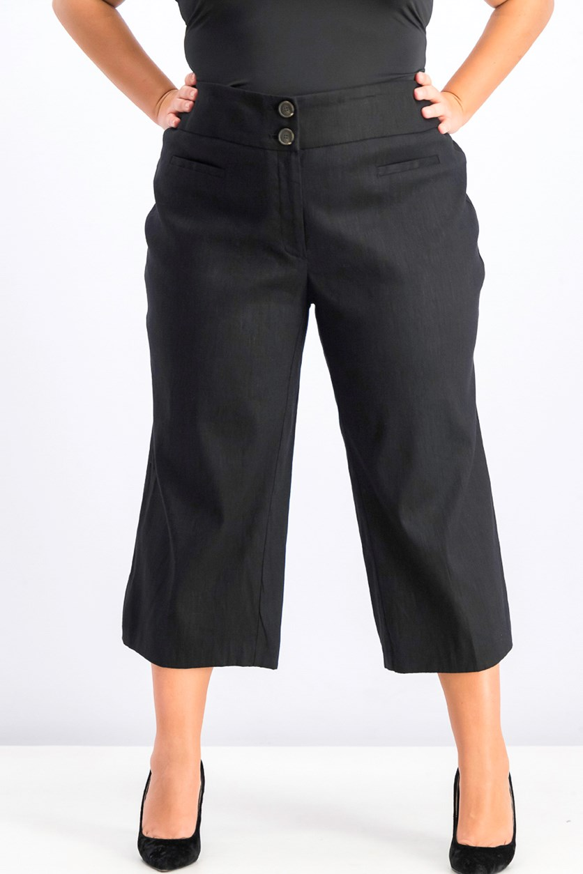 Women's Plus Size High Waist Wide Leg Capris, Black