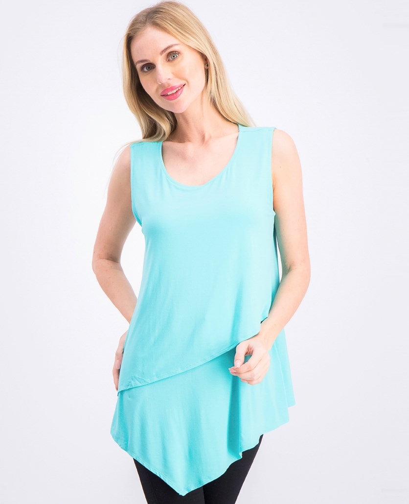 Women's Tiered Asymmetrical Top, Lagoon Reef