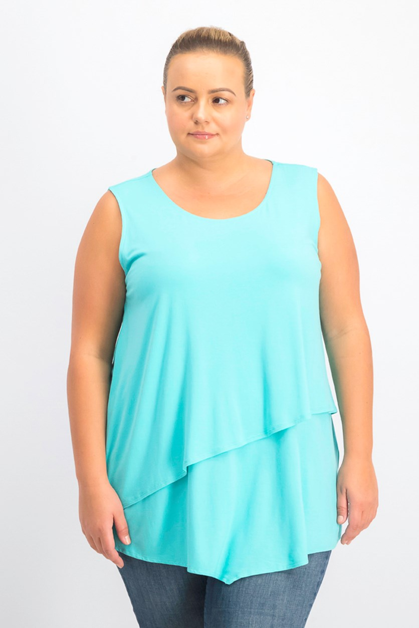 Women's Plus Size Tiered Asymmetrical-Hem Top, Lagoon Reef