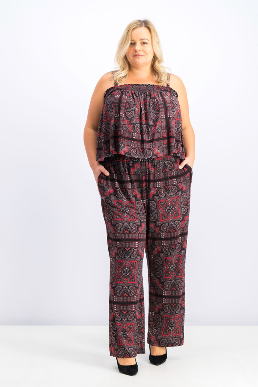 Plus Size Smocked Paisley Jumpsuit, Glam Pailsey