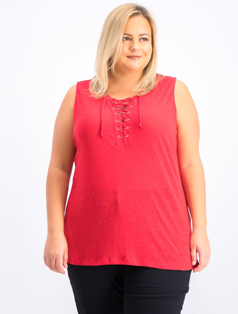 Women's Plus Size Lace-Up Tank Top, Real Red
