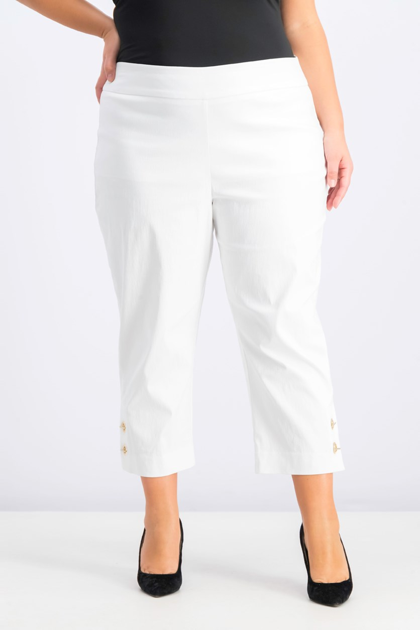 Womens Toggle-Trim Pull-On Capris, Bright White