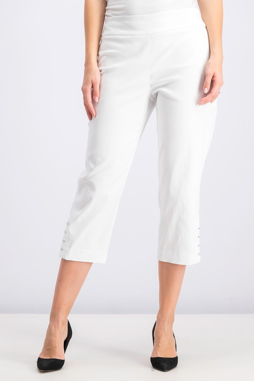 Women's Button-Hem Tummy-Control Capris, Bright White