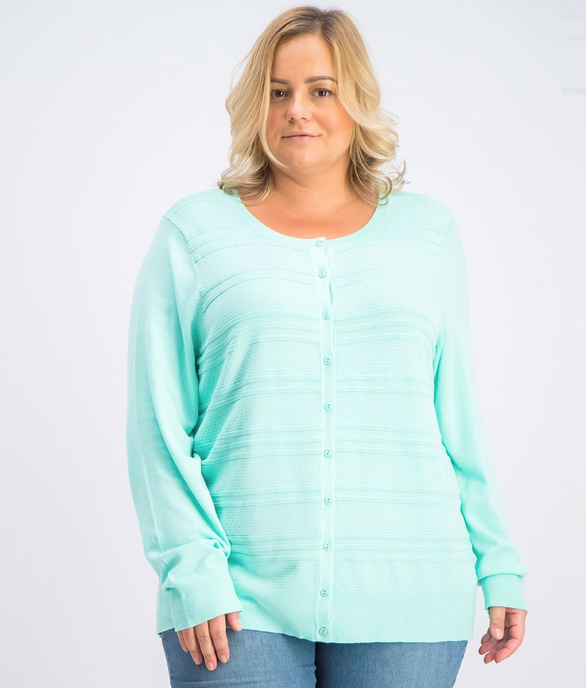 Women's Plus Size Textured Cardigan, Aqua Gloss