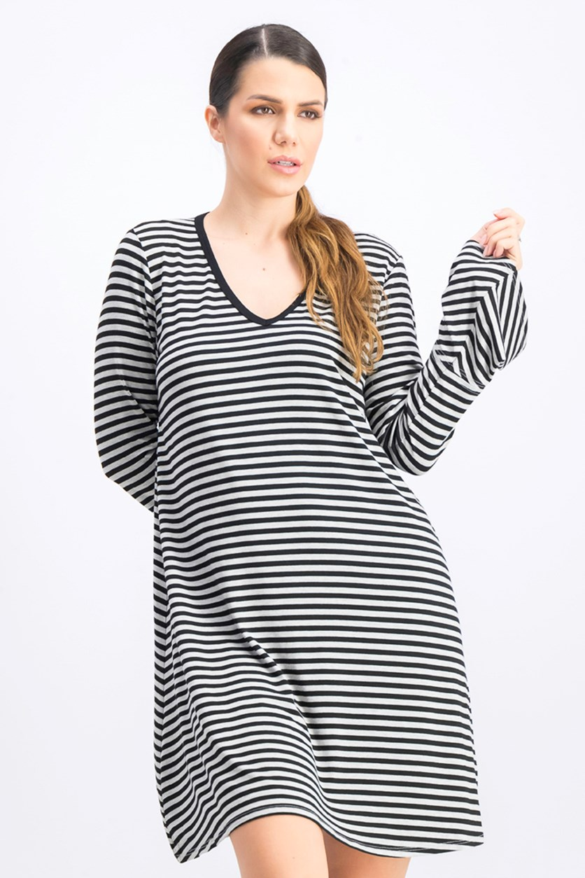 Bell Sleeve Stripe Tee Dress, Black/Grey