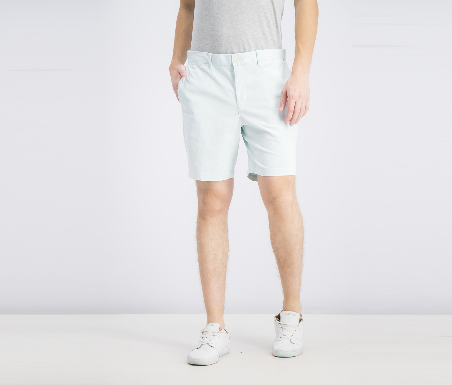Premium Core Slim Fit Chino Shorts, Pastel Blue