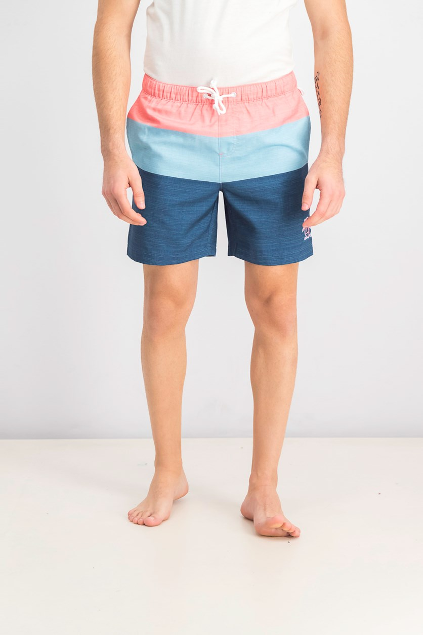 Men's Stripe Swim Trunks, Blue/Pink/Navy