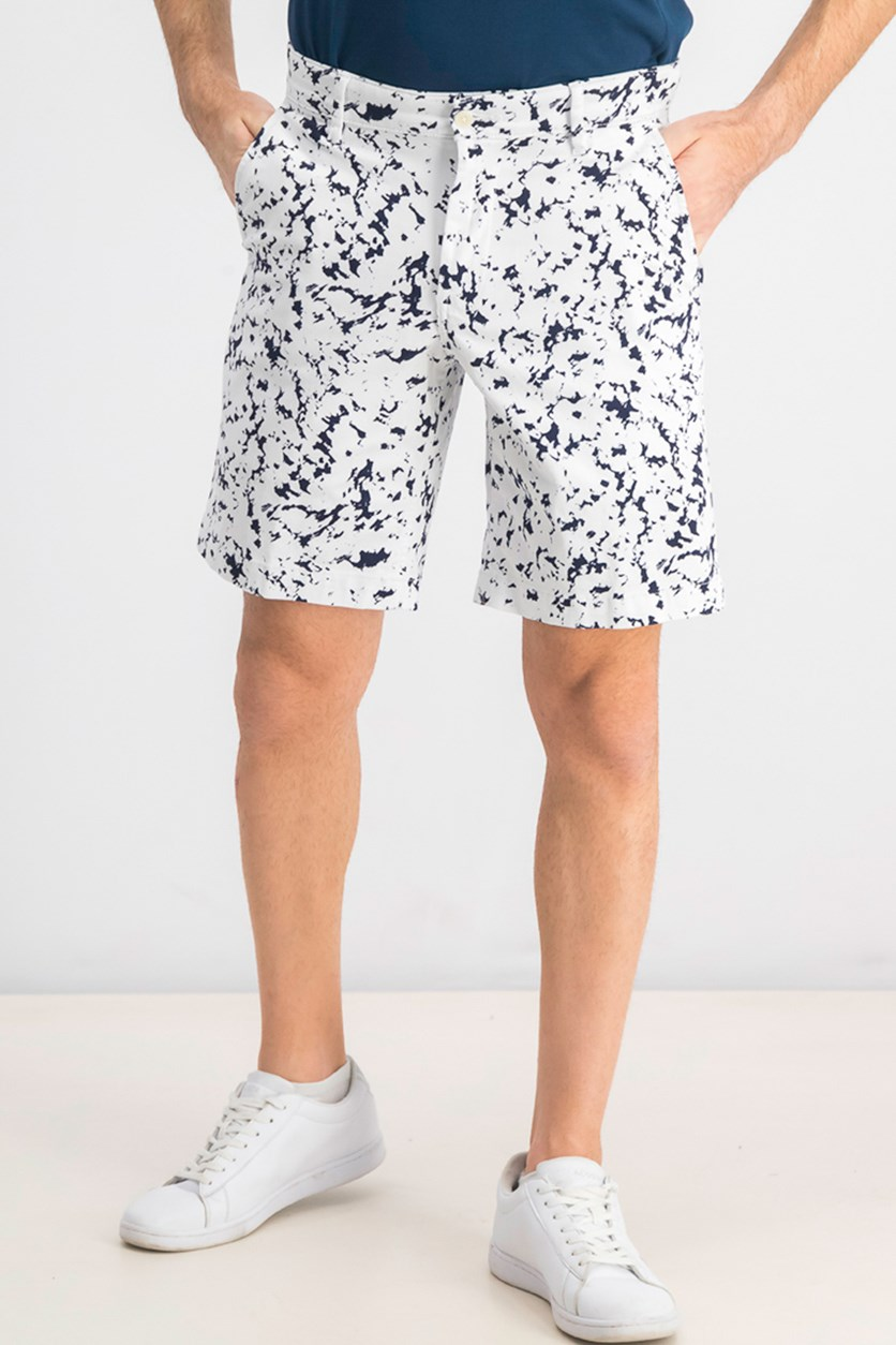 Men's Ink Splatter 9 Graphic Shorts, Navy/White
