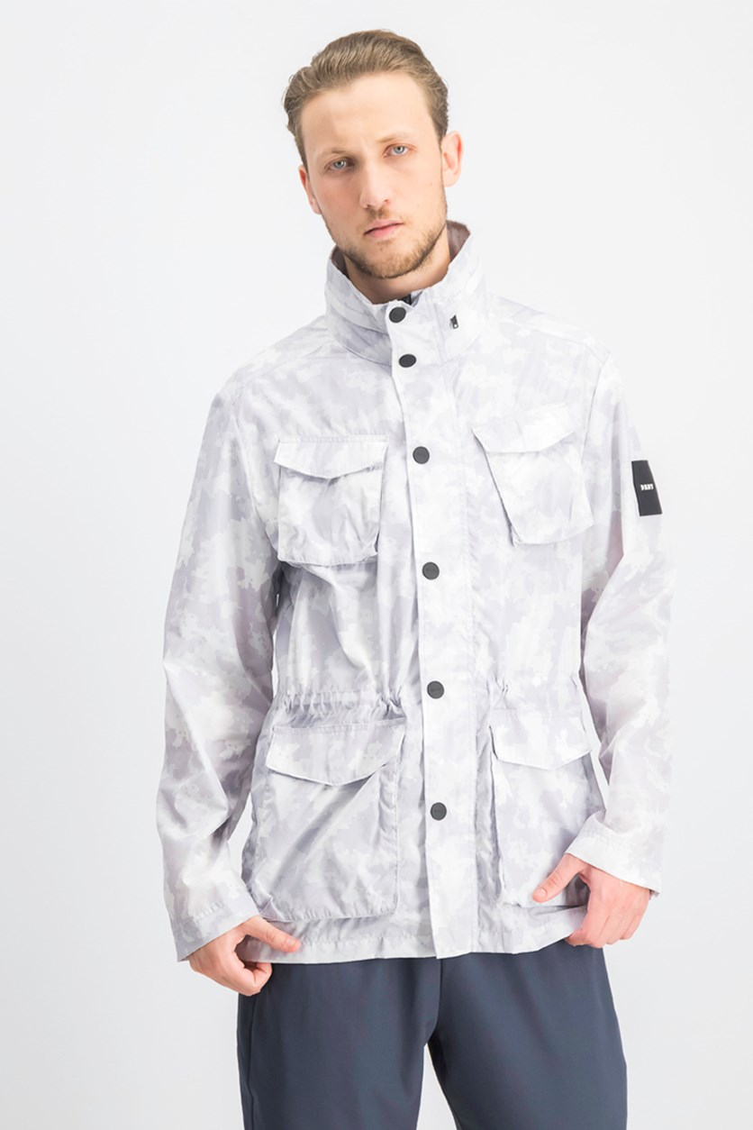 Men's Nylon Field Camo-Print Hooded Jacket, White/Grey