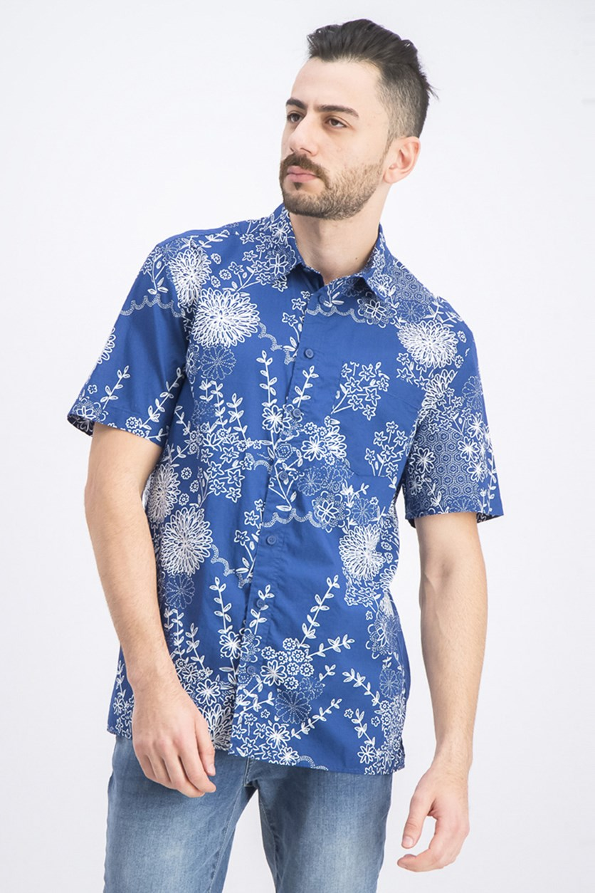 Men's Regular-Fit Floral-Print Shirt, Blue/White