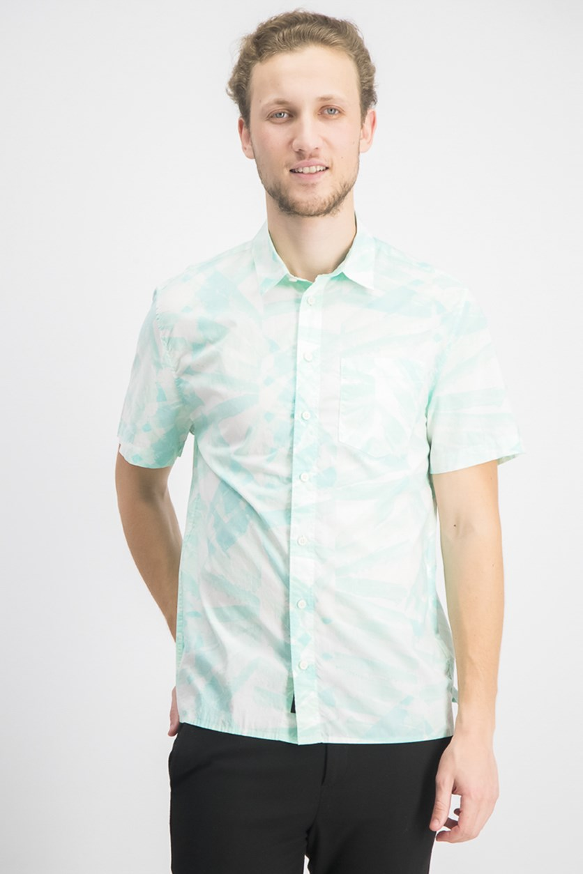 Men's Regular-Fit Stretch Leaf-Print Shirt, Soothing Sea