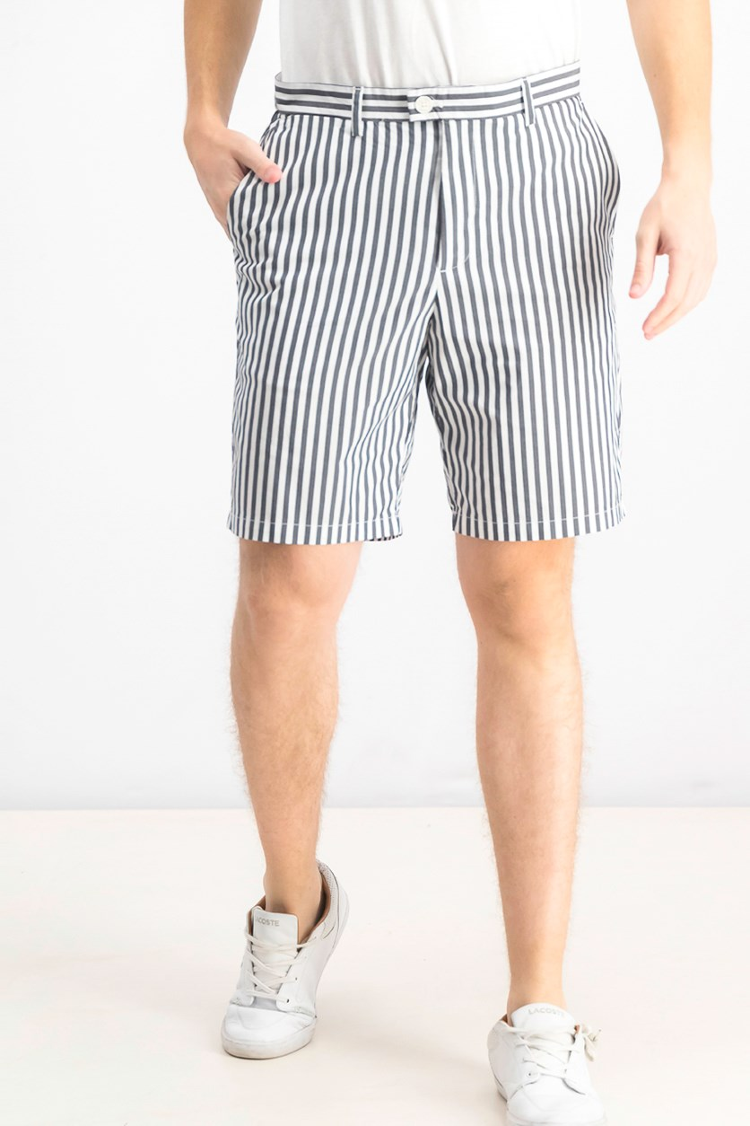 Men's Performance Stretch Yarn-Dyed Stripe Shorts, Black/White