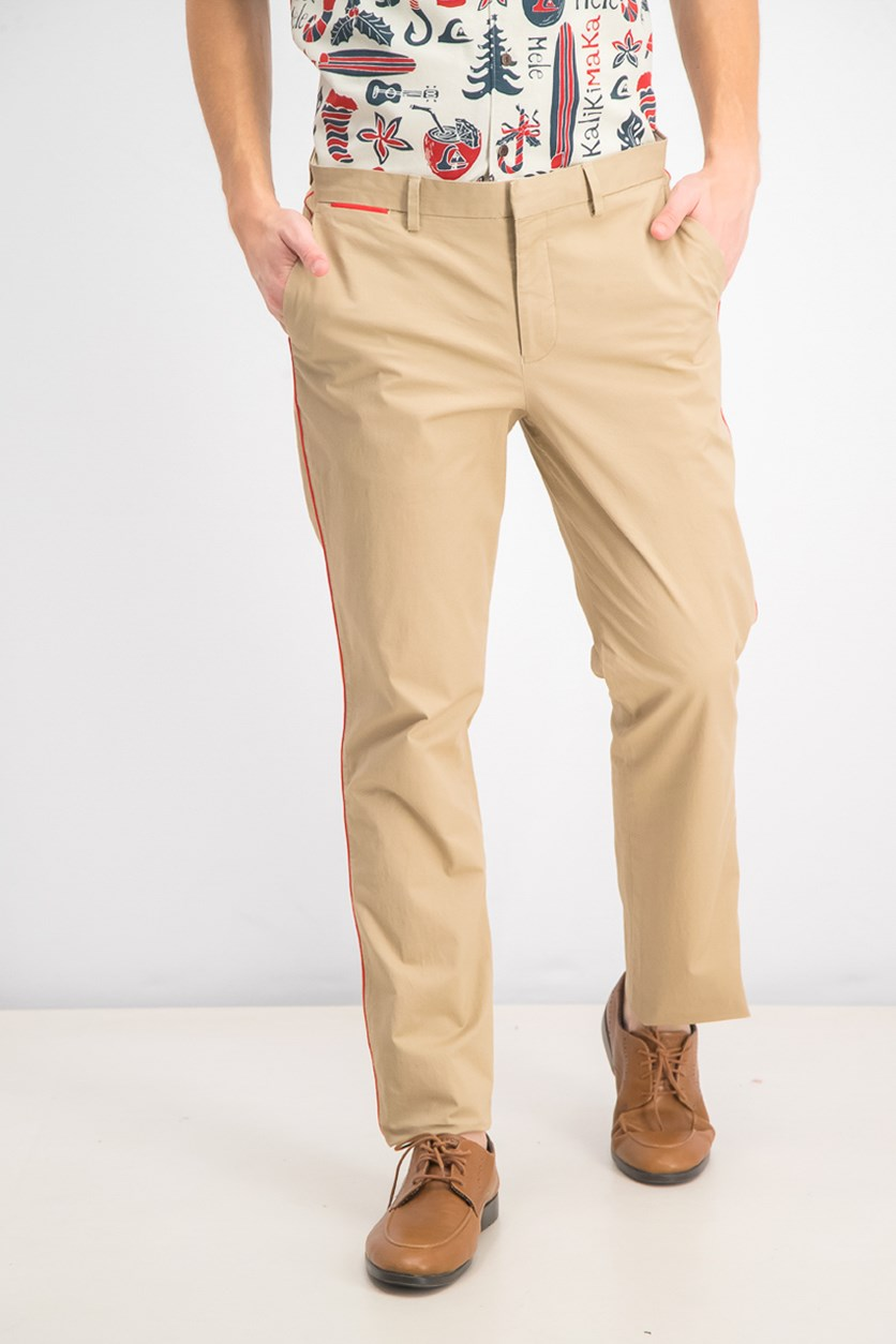 Men's Classic-Fit Stretch Contrast-Piped Pants, Light Caramel