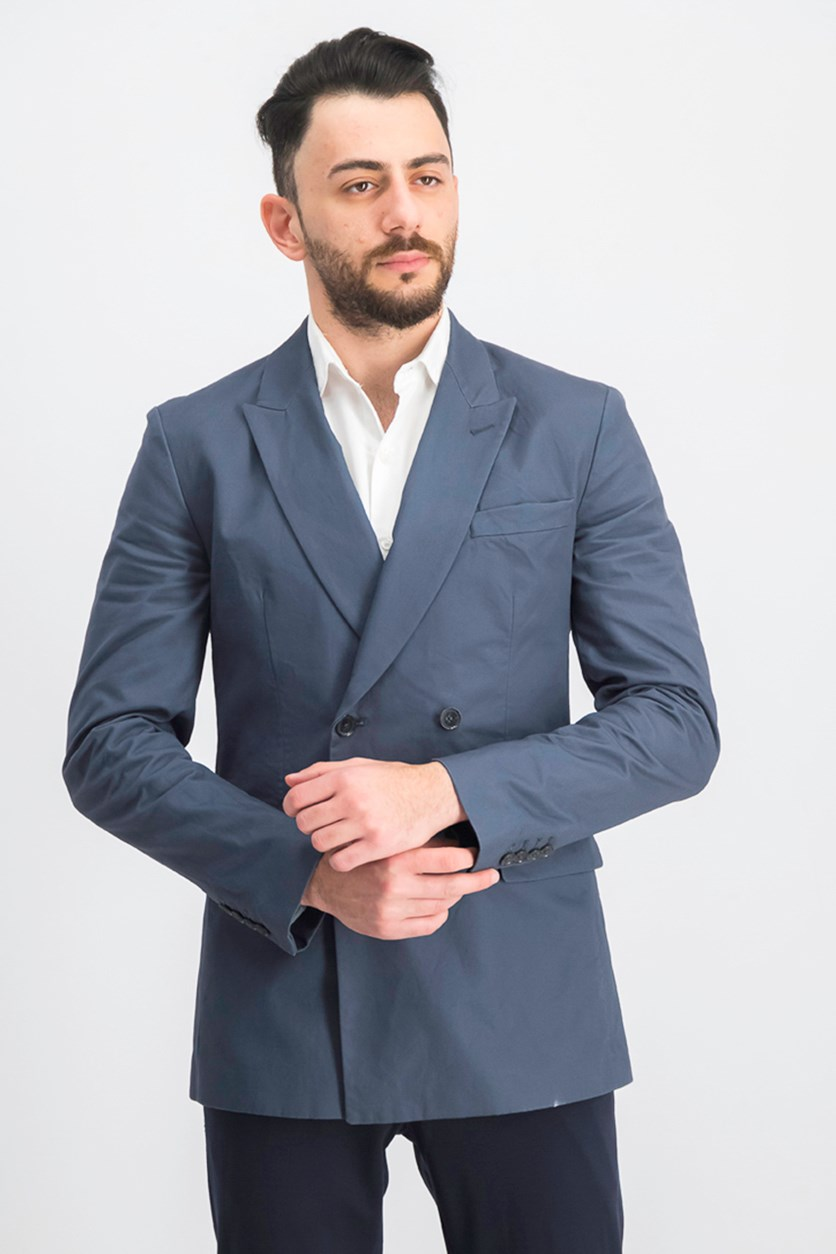 Men's Slim-Fit Double-Breasted Twill Blazer, Evening Dove
